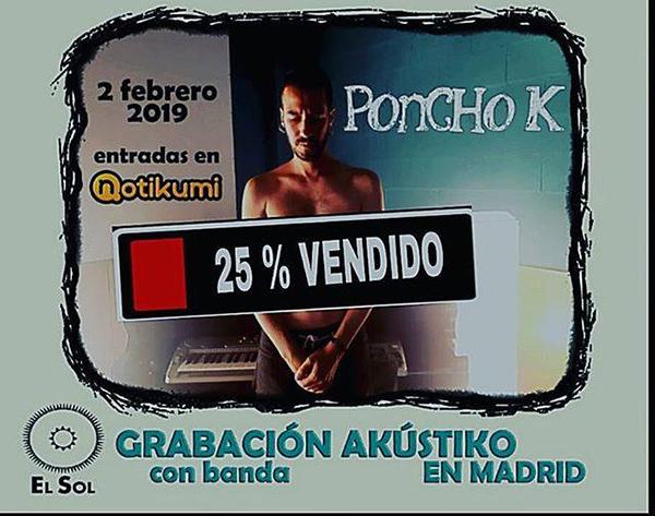 PONCHO K grabará un directo acústico en el mes de febrero