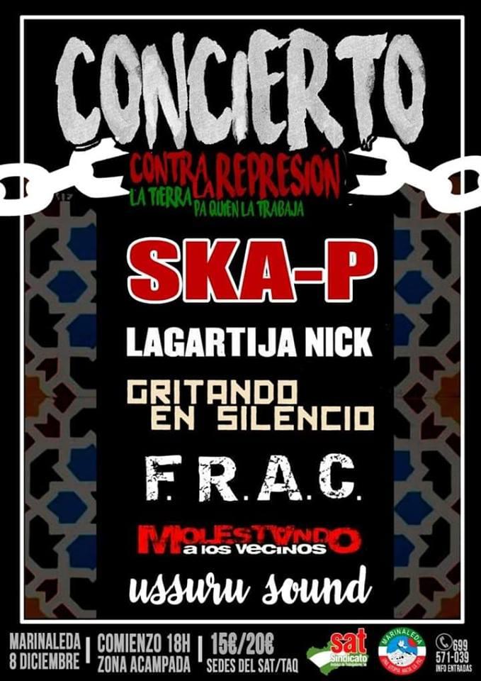 SKA-P encabezan el cartel del Concierto contra La represión organizado por el SAT el 8 de diciembre en Marinaleda
