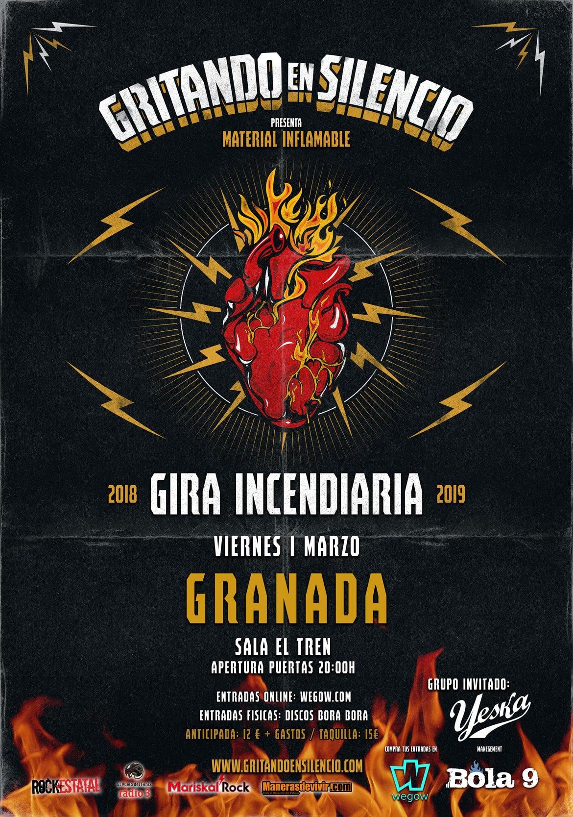 Crónica de GRITANDO EN SILENCIO + YESKA el 1 de marzo en Granada