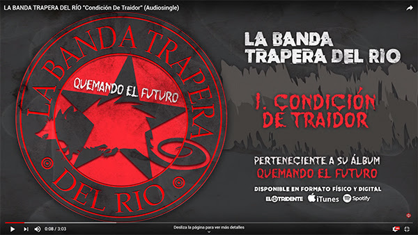 LA BANDA TRAPERA DEL RÍO: Avanza su segundo single, «Condición de Traidor», del nuevo álbum «Quemando el Futuro»(7 de junio)