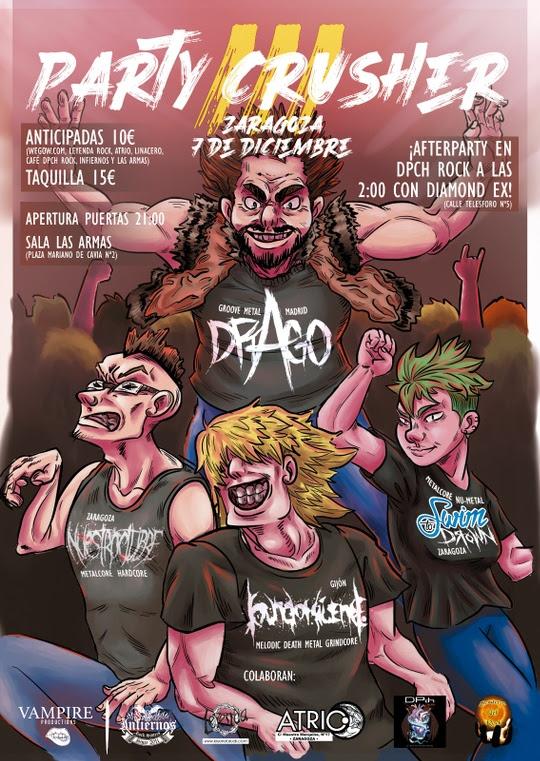 [Party Crusher III] 7 de diciembre en Zaragoza con DRAGO como plato fuerte