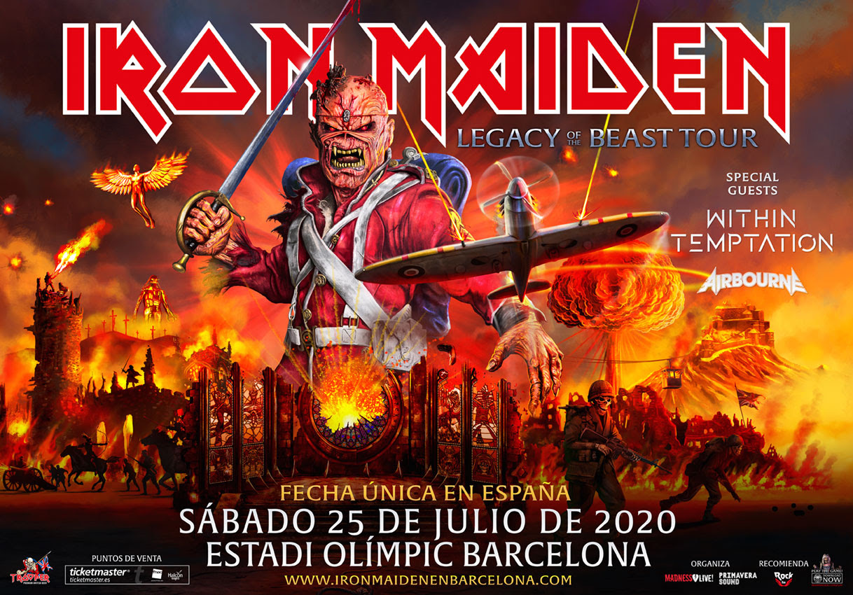 Iron Maiden en Estadi Olímpic de Barcelona sábado 25 de julio 2020