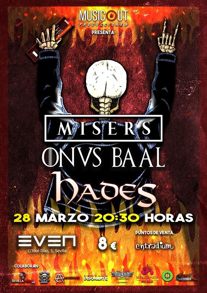 MISERS + ONVS BAAL + HADES el 28 de marzo en Sevilla (sala Even)