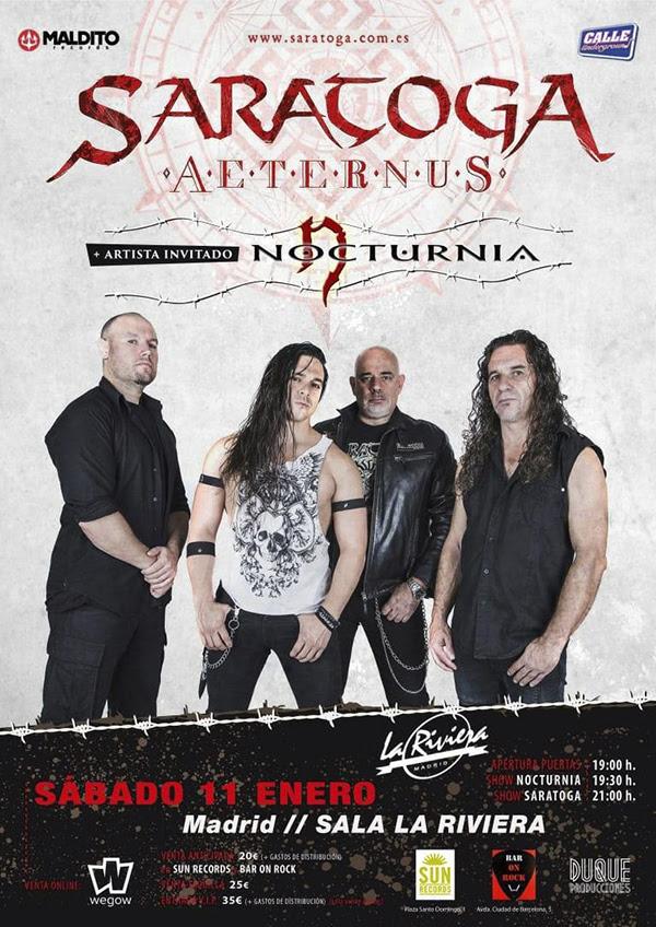 SARATOGA: En concierto en Madrid este sábado 11 de enero