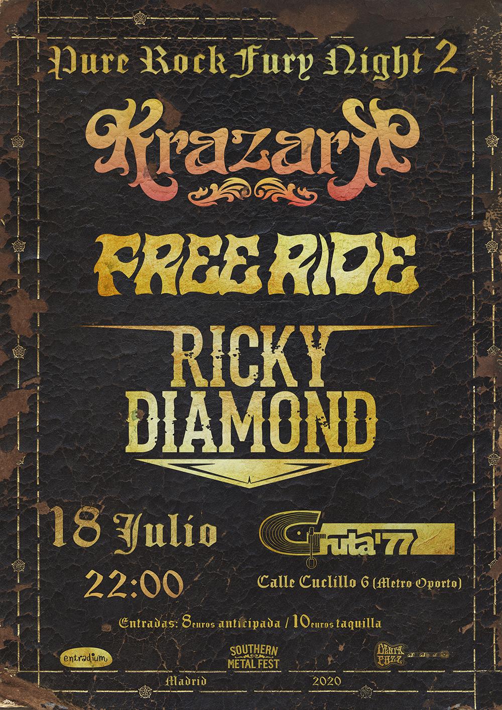 Pure Rock Fury Night 2: 18 de julio en Madrid (Sala Gruta 77)