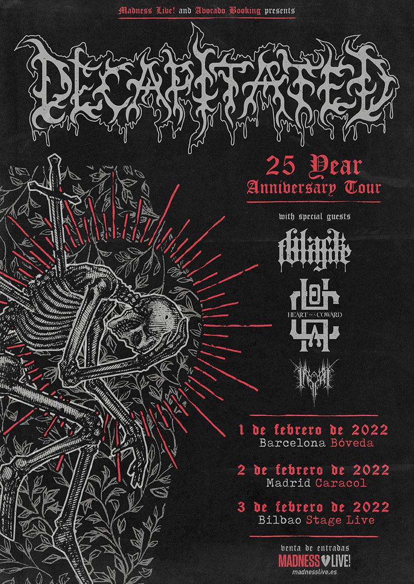 Decapitated + Black Tongue + Heart Of A Coward + Inferi de gira por España en febrero de 2022