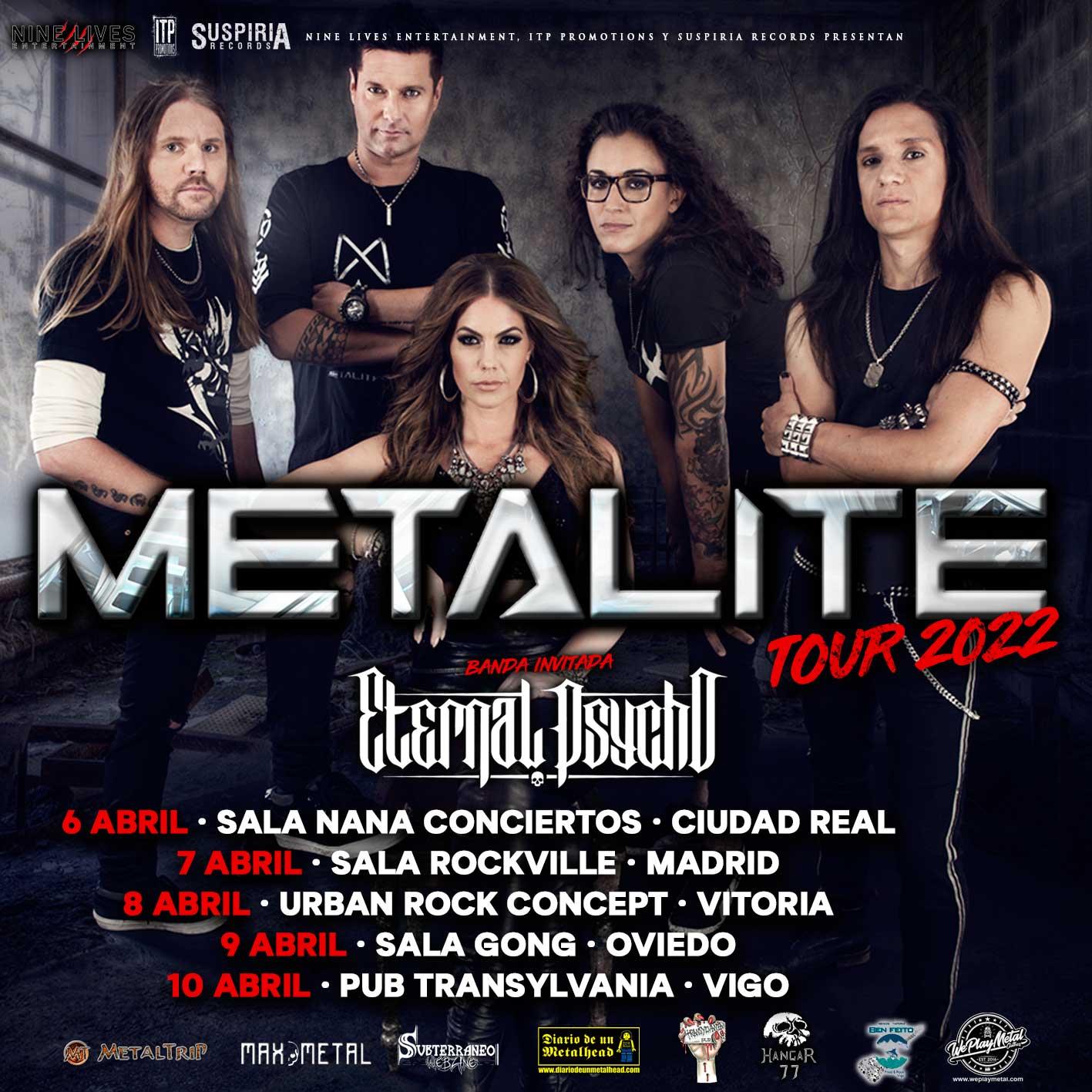 Metalite aplaza su gira española de septiembre a abril de 2022 y confirma a Eternal Psycho como la banda acompañante
